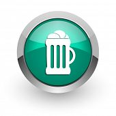 beer green glossy web icon