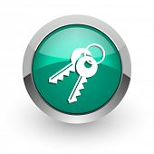 keys green glossy web icon