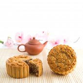 image of mid autumn  - Chinese mid autumn festival foods with blank copy space - JPG