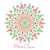Colorful flower decorated rangoli on white background for South Indian festival Happy Onam celebrati