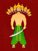 stock photo of ravana  - Standing illustration of proudy Ravana with his ten heads holding sword in his hand wearing yellow crown and green clothes on a red vintage background - JPG
