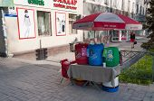 Sale Of National Drinks On The Street In Bishkek