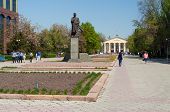 Monument To Shabdan Baatyr (shabdan Djantaev) And Kyrgyz National University Named Zhusup Balasagyn