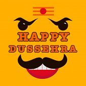 picture of dussehra  - Happy Dussehra celebrations concept with angry Ravana face on yellow background - JPG