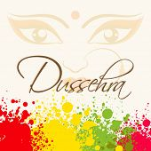Beautiful face of Goddess Durga on silhouette background with bright colours with the stylish text.