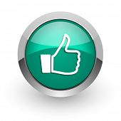 like green glossy web icon