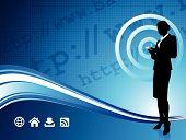 Fondo de conexión inalámbrica a Internet con la empresaria moderna