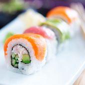 japanese sushi with stuna, salmon, avocado and shrimp