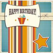 Vintage Retro Happy Birthday Card
