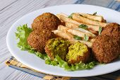 Falafel With French Fries On A White Plate Closeup Horizontal