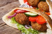 pic of pita  - falafel in pita bread close - JPG