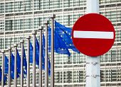 No entry sign in front of EU government building