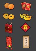 Chinese New Year Symbolic Decoration Icon Set