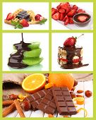 Tasty dessert collage with fruits and chocolate