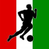 Soccer Player Means Waving Flag And Nation