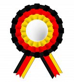 German Rosette Indicates Waving Flag And Certificate
