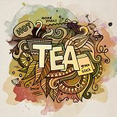 Tea watercolor cartoon hand lettering and doodles elements