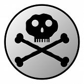 Skull And Bones Danger Sign Button
