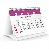 November 2015 desk calendar - vector illustration