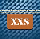 XXS size clothing label - vector illustration