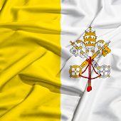Vatican Flag On A Silk Drape Waving