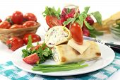 picture of crepes  - a crepe stuffed with cheese radishes and chives - JPG