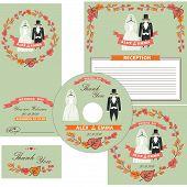 Wedding design  template set.Wedding wear,autumn wreath