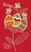 stock photo of nightingale  - Bird and flower of the Easter eggs - JPG