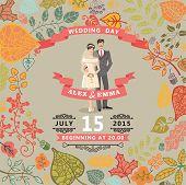 Cute wedding invitation with bride , groom ,autumn leaves