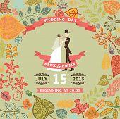 ute wedding invitation with bride , groom ,autumn leaves