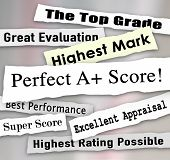 Perfect A Plus score on headlnes ripped from newspapers and top ratings, reviews and results