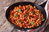 Chickpeas With Chorizo And Vegetables In The Pan