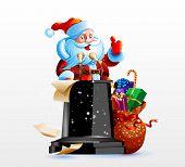 Santa Claus standing behind a podium