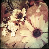 Instagram filtered image of plastic autumn flowers and pumpkin