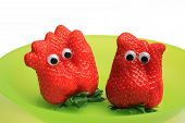 Two Funny Strawberries With Jiggle Eyes