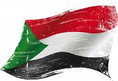 picture of north sudan  - waving sudanese grunge flag - JPG
