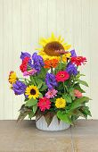 Flower Basket With Colorful Autumnal Flowers