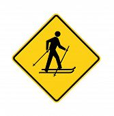 Road Sign - Yellow - Cross-country Skier In Black