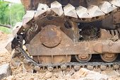 Collapse Bulldozer Wheel On Land After Fixing