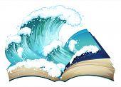 Ilustration of a book with waves
