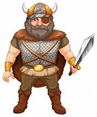 Illustration of a viking warrior