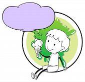 Illustration of a boy with icecream thinking