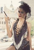 Retro, vintage. Cute girl in beautiful dress