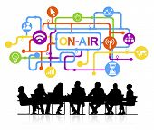 Vector of Business Meeting On-Air