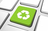 Vector of green recycle button on a keyboard.