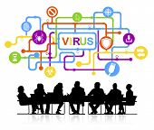 Vector of Business People Discussing Computer Virus