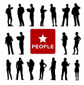 Vector of Diverse Business People's Silhouettes