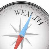 detailed illustration of a compass with wealth text, eps10 vector