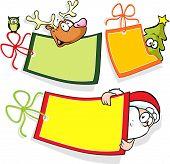 Christmas Paper Tag With Santa, Christmas Tree And Reindeer