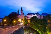 Saint Michael's Church at night in Luxembourg